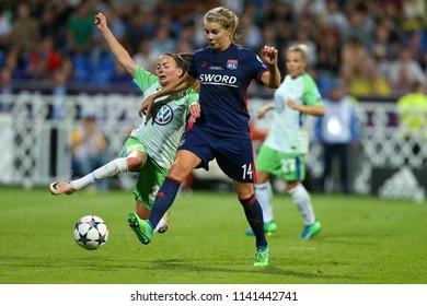 KYIV, UKRAINE - MAY 24, 2018: Ada Hegerberg runs and dribbles with the ball from Caroline Graham Hansen. UEFA Women's Champions League final Wolfsburg-Lyon