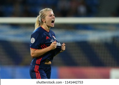 KYIV, UKRAINE - MAY 24, 2018: Amandine Henry celebrating victory in UEFA Women's Champions League final Wolfsburg-Lyon