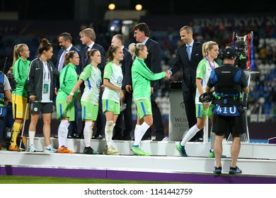 KYIV, UKRAINE - MAY 24, 2018: VfL Wolfsburg women team taking medals for second place as runners-up in UEFA Women's Champions League final Wolfsburg-Lyon
