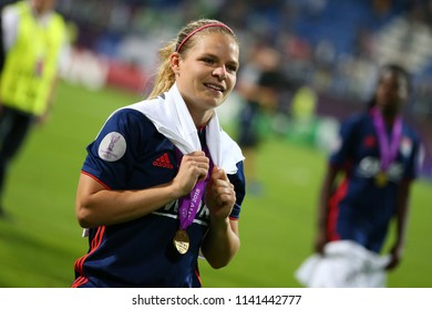 KYIV, UKRAINE - MAY 24, 2018: Ada Hegerberg portrait  celebrating victory in UEFA Women's Champions League final Wolfsburg-Lyon
