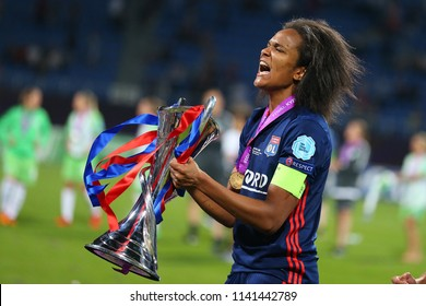 KYIV, UKRAINE - MAY 24, 2018: Captain Wendie Renard portrait celebrating victory in UEFA Women's Champions League final Wolfsburg-Lyon