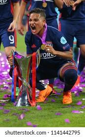 KYIV, UKRAINE - MAY 24, 2018: Shanice van de Sanden celebrating victory in UEFA Women's Champions League final Wolfsburg-Lyon