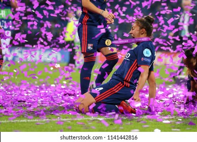 KYIV, UKRAINE - MAY 24, 2018: Selma Bacha celebrating victory in UEFA Women's Champions League final Wolfsburg-Lyon