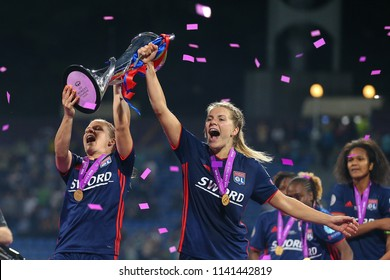 KYIV, UKRAINE - MAY 24, 2018: Ada Hegerberg and Amandine Henry celebrating victory in UEFA Women's Champions League final Wolfsburg-Lyon