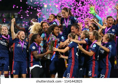 KYIV, UKRAINE - MAY 24, 2018: Olympique Lyonnais feminin football players celebrating victory in UEFA Women's Champions League final Wolfsburg-Lyon