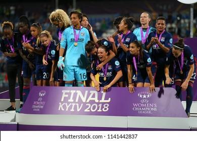 KYIV, UKRAINE - MAY 24, 2018: Olympique Lyonnais feminin football players celebrating victory in UEFA Women's Champions League final Wolfsburg-Lyon