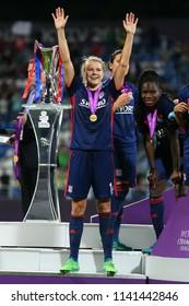 KYIV, UKRAINE - MAY 24, 2018: Ada Hegerberg celebrating victory in UEFA Women's Champions League final Wolfsburg-Lyon