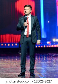 "KYIV, UKRAINE - MAY 24, 2018: Volodymyr Zelensky during the concert program of the studio ""Kvartal 95"""