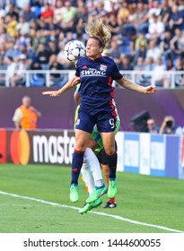 KYIV, UKRAINE - MAY 24, 2018: Eugenie Le Sommer of Olympique Lyonnais fights for a ball during the UEFA Women's Champions League Final 2018 game against Wolfsburg in Kyiv, Ukraine