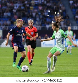 KYIV, UKRAINE - MAY 24, 2018: Eugenie Le Sommer of Olympique Lyonnais (L) fights for a ball with Tessa Wullaert of VFL Wolfsburg during their UEFA Women's Champions League Final 2018 game in Kyiv