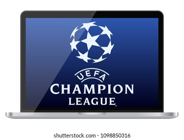 KYIV, UKRAINE - May 26, 2018: Glossy laptop with Champions League logo on screen. Illustrative editorial