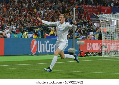 KYIV, UKRAINE - MAY 26, 2018: Real Madrid's Gareth Bale celebrates the goal scored during the Champions League Final soccer match between Real Madrid and Liverpool at the NSC Olympic Stadium