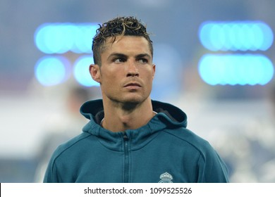 KYIV, UKRAINE - MAY 26, 2018: Real Madrid's Cristiano Ronaldo during the match UEFA Champions League Final between Real Madrid and Liverpool at NSC Olympic Stadium