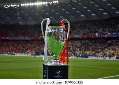KYIV, UKRAINE - MAY 26, 2018: General view of the Champions League trophy before the match  UEFA Champions League Final between Real Madrid and Liverpool at NSC Olympic Stadium