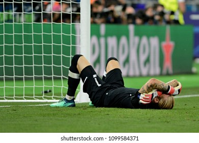 KYIV, UKRAINE - MAY 26, 2018: Liverpool's goalie Loris Karius during the match  UEFA Champions League Final between Real Madrid and Liverpool at NSC Olympic Stadium