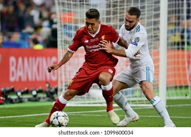 KYIV, UKRAINE - MAY 26, 2018: FC Liverpool player Roberto Firmino (L) during the Champions League Final soccer match between Real Madrid and Liverpool at the NSC Olympic Stadium