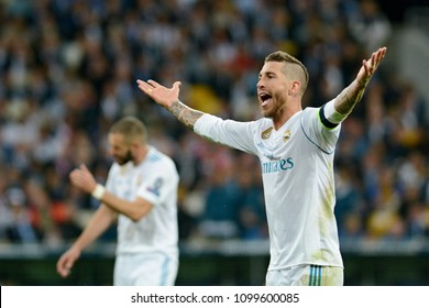 KYIV, UKRAINE - MAY 26, 2018: Real Madrid's Sergio Ramos during the Champions League Final soccer match between Real Madrid and Liverpool at the NSC Olympic Stadium