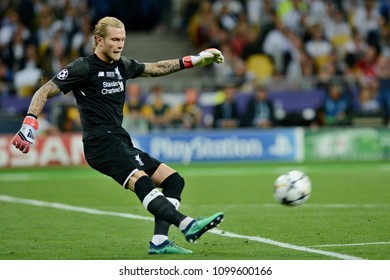 KYIV, UKRAINE - MAY 26, 2018: FC Liverpool goalkeeper Loris Karius during the Champions League Final soccer match between Real Madrid and Liverpool at the NSC Olympic Stadium