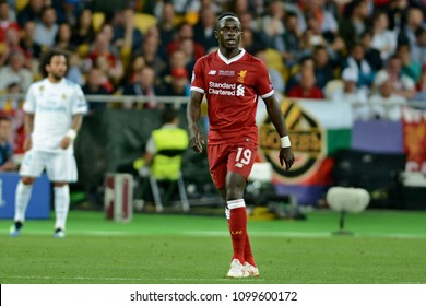 KYIV, UKRAINE - MAY 26, 2018: FC Liverpool player Sadio Mane (R) during the Champions League Final soccer match between Real Madrid and Liverpool at the NSC Olympic Stadium
