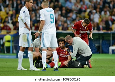 KYIV, UKRAINE - MAY 26, 2018: FC Liverpool player Mohamed Salah was injured during the Champions League Final soccer match between Real Madrid and Liverpool at the NSC Olympic Stadium