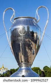 KYIV, UKRAINE - MAY 26, 2018:  Big copy of UEFA Champions League Cup on Sophia square in Kyiv
