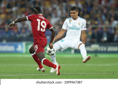 KYIV, UKRAINE - MAY 26, 2018: Casemiro tackles the ball in challange with Sadio Mane. UEFA Champions League final Real Madrid - Liverpool. Olympic NSC stadium.
