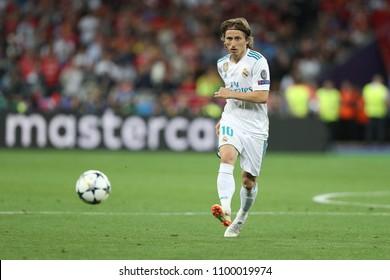 KYIV, UKRAINE - MAY 26, 2018: Luka Modric passes the ball. UEFA Champions League final Real Madrid - Liverpool. Olympic NSC stadium.