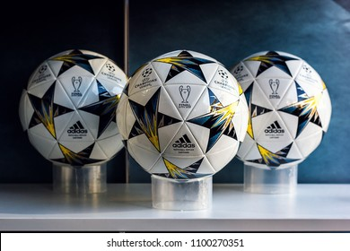 KYIV, UKRAINE —  MAY 26, 2018: Official match ball season 2017/18 Adidas  Symbols Final UEFA Champions League in Kiev Finale 18 Kiev soccer ball for sale in store in fan zone of football fans.