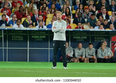 KYIV, UKRAINE - MAY 26, 2018: Liverpool's head coach Jurgen Klopp during the match  UEFA Champions League Final between Real Madrid and Liverpool at NSC Olympic Stadium