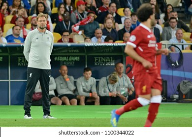 KYIV, UKRAINE - MAY 26, 2018: Liverpool's head coach Jurgen Klopp (left) during the match  UEFA Champions League Final between Real Madrid and Liverpool at NSC Olympic Stadium