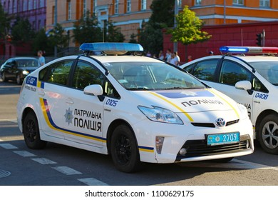 KYIV, UKRAINE - MAY 26, 2018: Police patrol cars providing security at the day of UEFA Champions League Final match Real Madrid vs Liverpool
