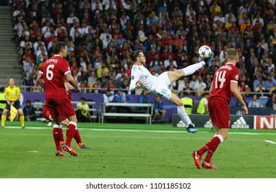 KYIV, UKRAINE - MAY 26, 2018: Gareth Bale of Real Madrid scores a 2nd goal during the UEFA Champions League Final 2018 game against Liverpool at NSC Olimpiyskiy Stadium in Kyiv, Ukraine