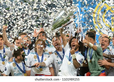 KYIV, UKRAINE - MAY 26, 2018: Real's keeper Keylor Navas (c) lifts the trophy during the Champions League Final soccer match between Real Madrid and Liverpool at the NSC Olympic Stadium
