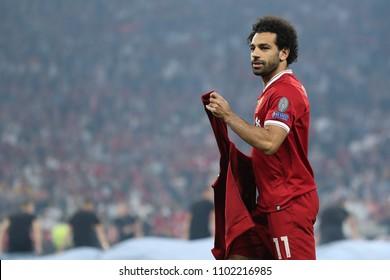 KYIV, UKRAINE - MAY 26, 2018: Mohamed Salah close-up portrait. UEFA Champions League final Real Madrid - Liverpool. Olympic NSC stadium.