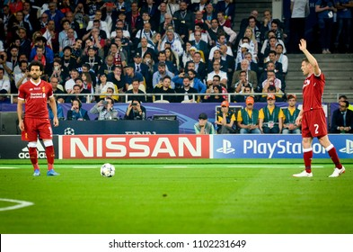 KYIV, UKRAINE - MAY 26, 2018: James Milner during the 2018 UEFA Champions League final match between Real Madrid and Liverpool in Kyiv at NSC olimpiyskiy stadium, Ukraine