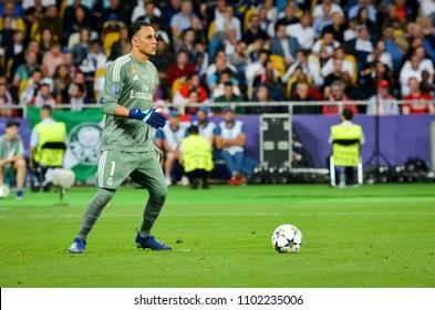 KYIV, UKRAINE - MAY 26, 2018: Keylor Navas during the 2018 UEFA Champions League final match between Real Madrid and Liverpool in Kyiv at NSC olimpiyskiy stadium, Ukraine