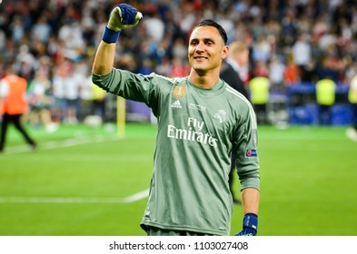 KYIV, UKRAINE - MAY 26, 2018: Keylor Navas of Real Madrid celebrate the victory in the final of the UEFA Champions League 2018 in Kiev  match between Real Madrid and Liverpool, Ukraine