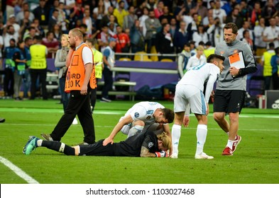 KYIV, UKRAINE - MAY 26, 2018: Loris Karius sad after the final of the UEFA Champions League 2018 in Kiev  match between Real Madrid and Liverpool, Ukraine