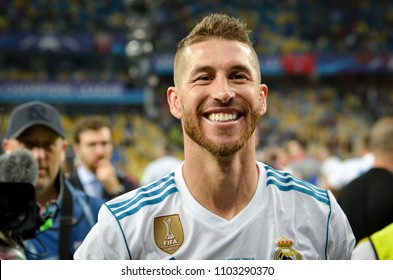 KYIV, UKRAINE - MAY 26, 2018: Sergio Ramos of Real Madrid celebrate the victory in the final of the UEFA Champions League 2018 in Kiev  match between Real Madrid and Liverpool, Ukraine