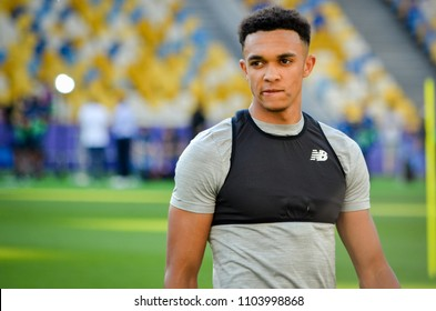KYIV, UKRAINE - MAY 26, 2018: Trent Alexander-Arnold  and Training of football players of Liverpool before the 2018 UEFA Champions League final match between Real Madrid and Liverpool, Ukraine
