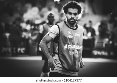 KYIV, UKRAINE - MAY 26, 2018: Mohamed Salah and Training of football players of Liverpool before the 2018 UEFA Champions League final match between Real Madrid and Liverpool, Ukraine