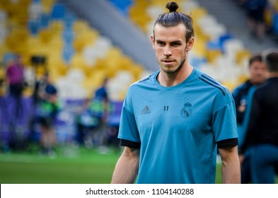 KYIV, UKRAINE - MAY 26, 2018: Gareth Bale and Training of football players of Real Madrid before the 2018 UEFA Champions League final match between Real Madrid and Liverpool, Ukraine