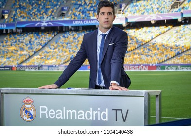 KYIV, UKRAINE - MAY 26, 2018: The working zone of the official TV channel Real Madrid with the journalist before the 2018 UEFA Champions League final match at NSC olimpiyskiy stadium, Ukraine