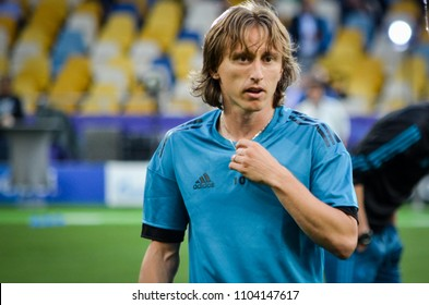 KYIV, UKRAINE - MAY 26, 2018: Luka Modric and Training of football players of Real Madrid before the 2018 UEFA Champions League final match between Real Madrid and Liverpool, Ukraine