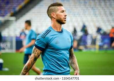 KYIV, UKRAINE - MAY 26, 2018: Sergio Ramos and Training of football players of Real Madrid before the 2018 UEFA Champions League final match between Real Madrid and Liverpool, Ukraine