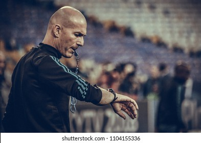 KYIV, UKRAINE - MAY 26, 2018: Zinedine Zidane and Training of football players of Real Madrid before the 2018 UEFA Champions League final match between Real Madrid and Liverpool, Ukraine