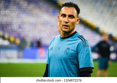 KYIV, UKRAINE - MAY 26, 2018: Keylor Navas and Training of football players of Real Madrid before the 2018 UEFA Champions League final match between Real Madrid and Liverpool, Ukraine