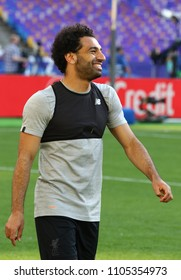 KYIV, UKRAINE - MAY 26, 2018: Mohamed Salah of Liverpool smiles during training session before UEFA Champions League Final 2018 game against Real Madrid at NSC Olimpiyskiy Stadium in Kyiv, Ukraine