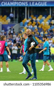 KYIV, UKRAINE - MAY 26, 2018: Real Madrid head coach Zinedine Zidane looks on during training session before UEFA Champions League Final 2018 game against Liverpool at NSC Olimpiyskiy Stadium in Kyiv
