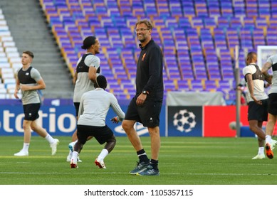 KYIV, UKRAINE - MAY 26, 2018: Liverpool head coach Jurgen Klopp walks on the pitch during training session before UEFA Champions League Final 2018 game against Real Madrid at NSC Olimpiyskiy Stadium